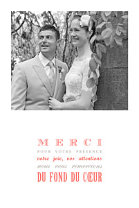 Carte de remerciement mariage Le plus beau jour corail