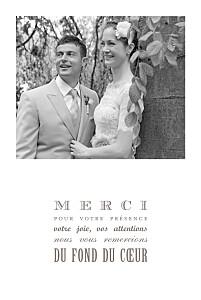 Carte de remerciement mariage beige le plus beau jour taupe