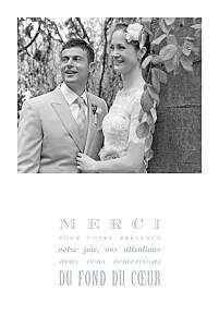 Carte de remerciement mariage Le plus beau jour gris clair