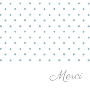 Carte de remerciement Merci étoiles classique blanc bleu