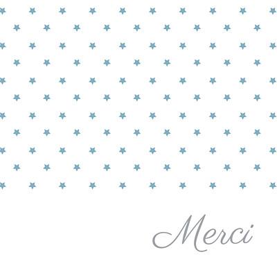 Carte de remerciement Merci étoiles classique blanc bleu finition
