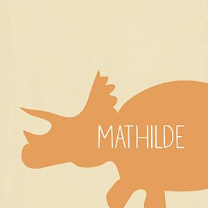 Carte d'anniversaire orange tricératops orange
