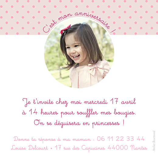 Carte d'anniversaire Diadème photo beige rose - Page 2