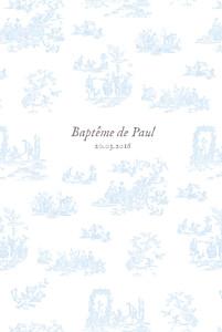 Menu de baptême Toile de jouy (4 pages) bleu clair