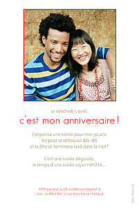 Carte d'anniversaire Triangles photo rouge