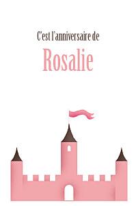 Carte d'anniversaire marron château fort rose