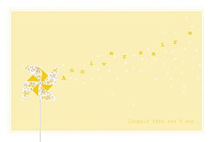 Carte d'anniversaire jaune moulin à vent jaune