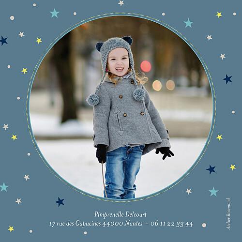 Carte d'anniversaire Soirée pyjama photo bleu nuit