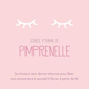 Carte d'anniversaire Soirée pyjama photo rose