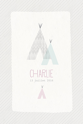 Faire-part de naissance Tipis photo (4 pages) beige rose - Page 1