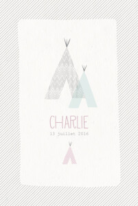 Faire-part de naissance Tipis photo (4 pages) beige rose