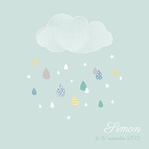Faire-part de naissance Tombe la pluie (3 photos) vert