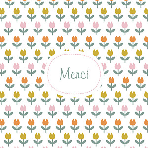 Carte de remerciement Merci tulipes orange