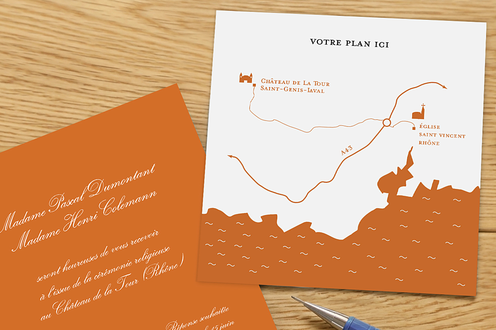 Carton d'invitation mariage Traditionnel (carré) orange