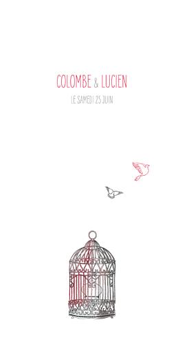 Menu de mariage Cage à oiseaux rouge