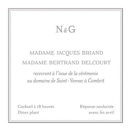 Carton d'invitation mariage Classique blanc - Page 2