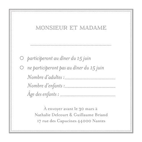 Carton réponse mariage Classique blanc - Page 2
