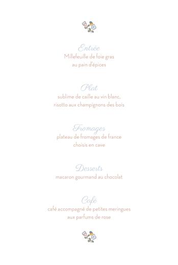 Menu de baptême Jardin fleuri bleuet - Page 3