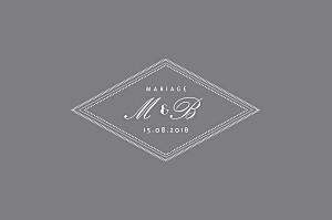 Carton réponse mariage gris monogramme gris foncé