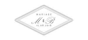 Etiquette de mariage Monogramme gris foncé