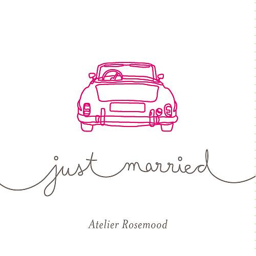 Etiquette de mariage Voiture de collection rose