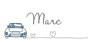 Marque-place mariage Voiture de collection bleu