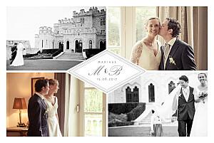 Carte de remerciement mariage gris monogramme gris foncé