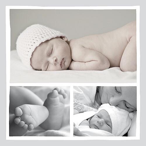 Faire-part de naissance Chérie 3 photos gris rouge