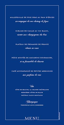 Menu de mariage Classique liseré bleu - Page 2