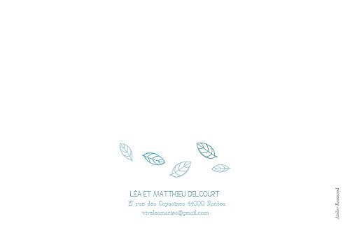 Carte de remerciement mariage Nature bleu