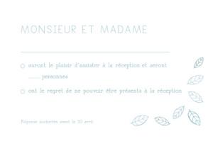 Carton réponse mariage Nature bleu