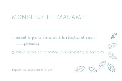 Carton réponse mariage Nature bleu finition