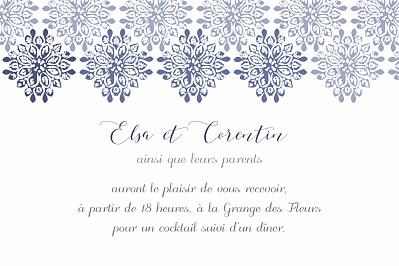Carton d'invitation mariage Grâce blanc bleu finition