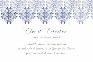 Carton d'invitation mariage Grâce blanc bleu