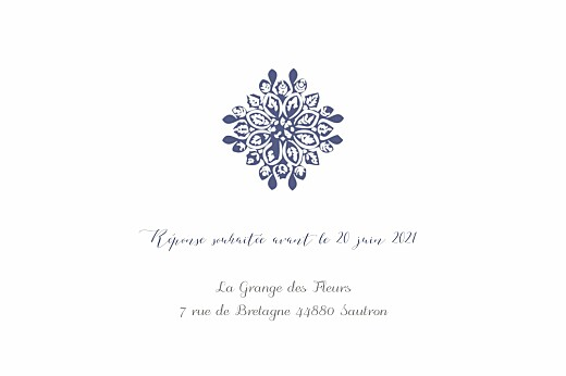 Carton d'invitation mariage Grâce blanc bleu - Page 2