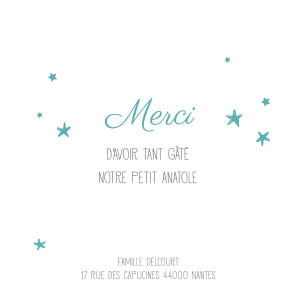 Carte de remerciement Petit ruban étoilé blanc turquoise