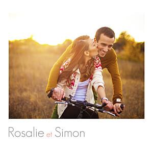 Carton d'invitation mariage avec photo moderne photo blanc