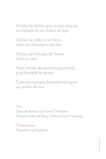Menu de mariage Moderne photo blanc - Page 2