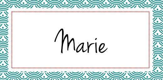 Marque-place Baptême Pattern écusson turquoise