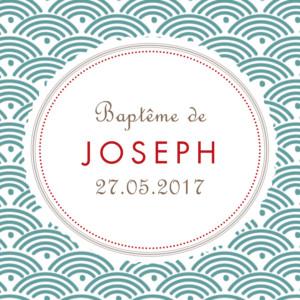 Etiquette de baptême Pattern turquoise