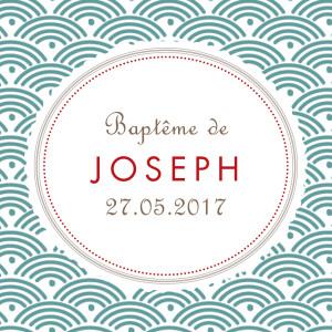 Etiquette perforée baptême Pattern turquoise