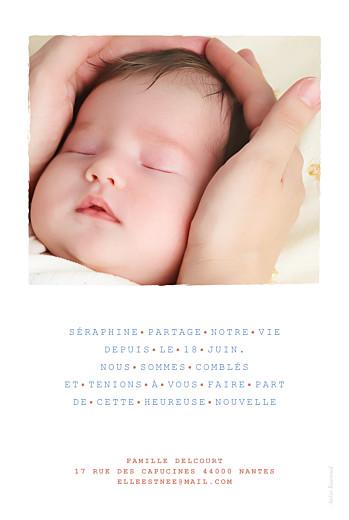 Faire-part de naissance Marinière portrait photo bleu