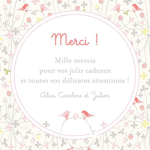 Carte de remerciement Corolle rose bonheur rose