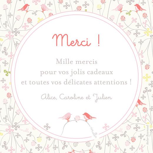 Carte de remerciement Corolle rose bonheur photo rose - Page 2