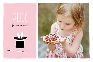 Carte d'anniversaire rose abracadabra rose