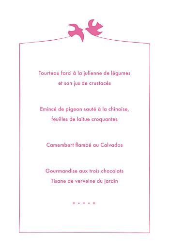 Menu de baptême Oiseaux (4 pages) rose - Page 3