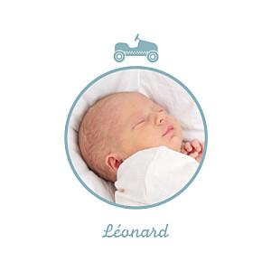 Faire-part de naissance garçon voiture médaillons 2 photos bleu