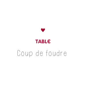 Marque-table mariage Amour rouge