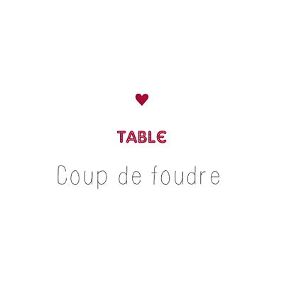 Marque-table mariage Amour rouge finition