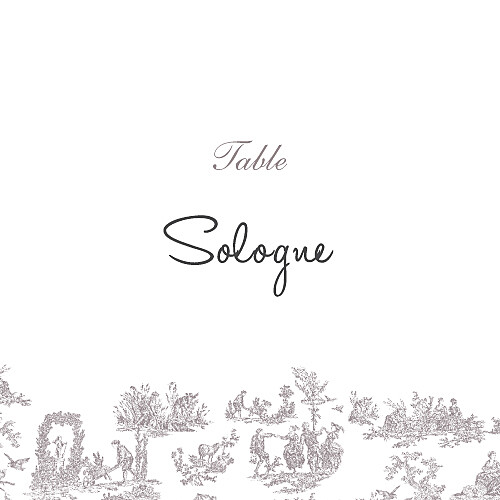 Marque-table mariage Toile de jouy taupe